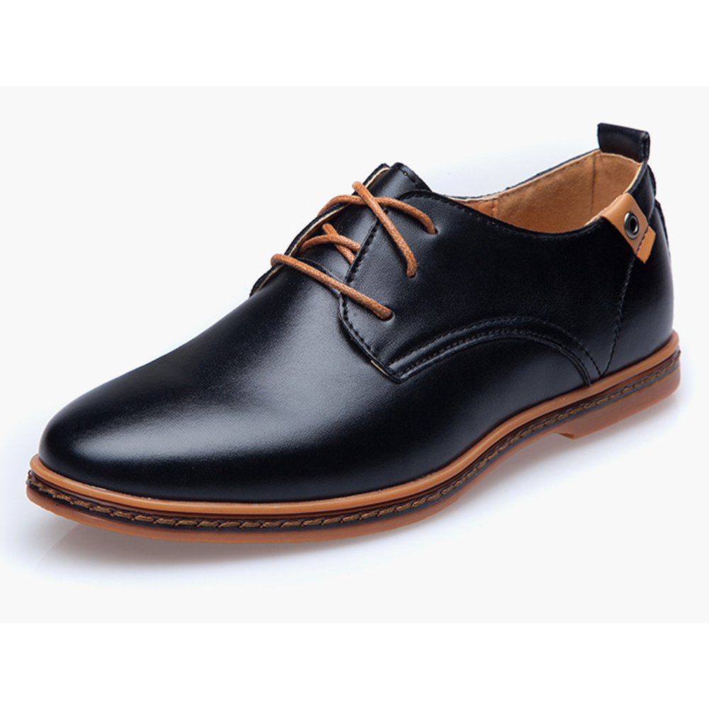 Casual Men's Shoes Black Flats Pointed Toe Luxury Men Shoes Leather 2019 New Fashion Comfortable Office Formal Mens Dress Shoes