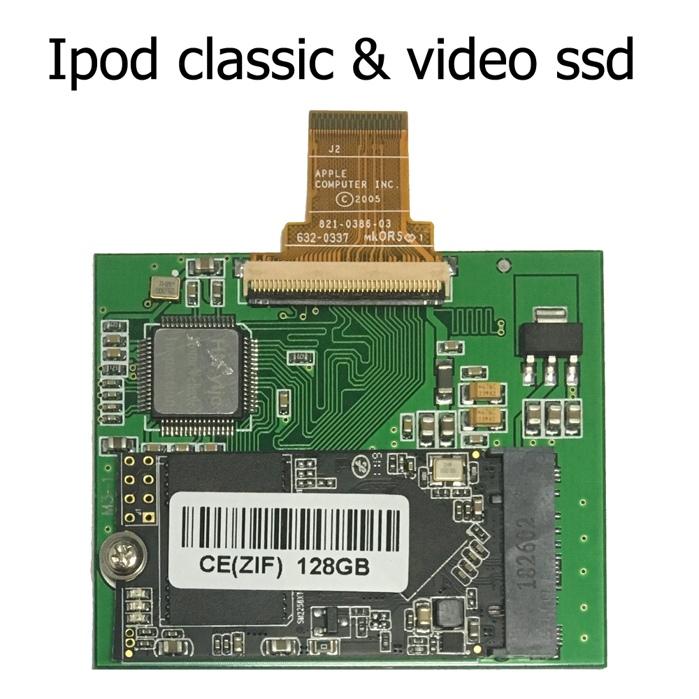 128GB SSD For Ipod Classic 6th 7th Ipod Video 5Gen 5.5th  Replace HS081HA MK8010GAH MK8022GAA MK1626GCB MK1231GAL ZIF CE HDD