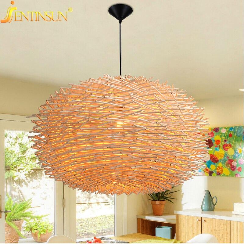 Art Deco LED Hand Made Bine Pendant Light Wood Hanging Lights 220v E27 Bird Nest Cage Lamp For Restaurant Home Bar Decoration цена 2017