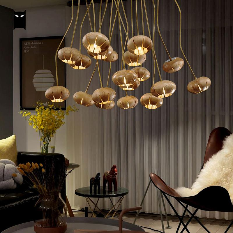 Modern Wood Round Ball Chandelier Lighting Cord DIY Large ...