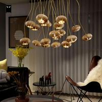 Modern Wood Round Ball Chandelier Lighting Cord DIY Large Nordic Chandelier Contemporary Design G4 Bulb for Stair Living Room
