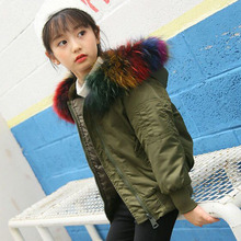 Colorful Fur Hooded Girls White Duck Down Coats Children Waterproof Windproof Thicken Girls Winter Jackets For Kids Tops Clothes