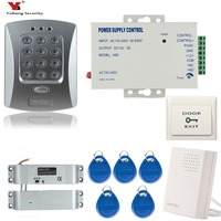 Yobang Security RFID Access Control System Kit Set + Electric Magnetic Door Lock + RFID Card Keyfob + Power Supply+ Exit Button