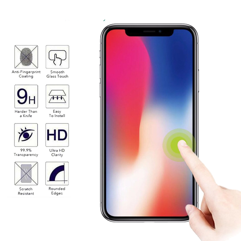 0.26mm 9H Explosion-proof Tempered Glass For iPhone X 8 P 4 4S 5 5C SE 5S 6 6S 7 Plus 6Plus 6SPlus Screen Protector Film Case
