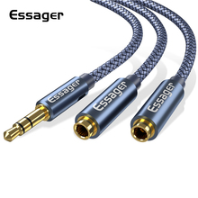 Essager Aux Cable Jack 3.5mm Male to 2 Female Headphone Extension Cable 3.5 Jack Audio Cable for Headphone Adapter Speaker Wire цена