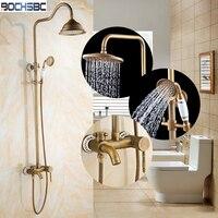 BOCHSBC Blue and White Porcelain Shower Set Bath Shower Faucet Mixer Tap Rainfall Shower Set Single Handle Pommeau de Douche