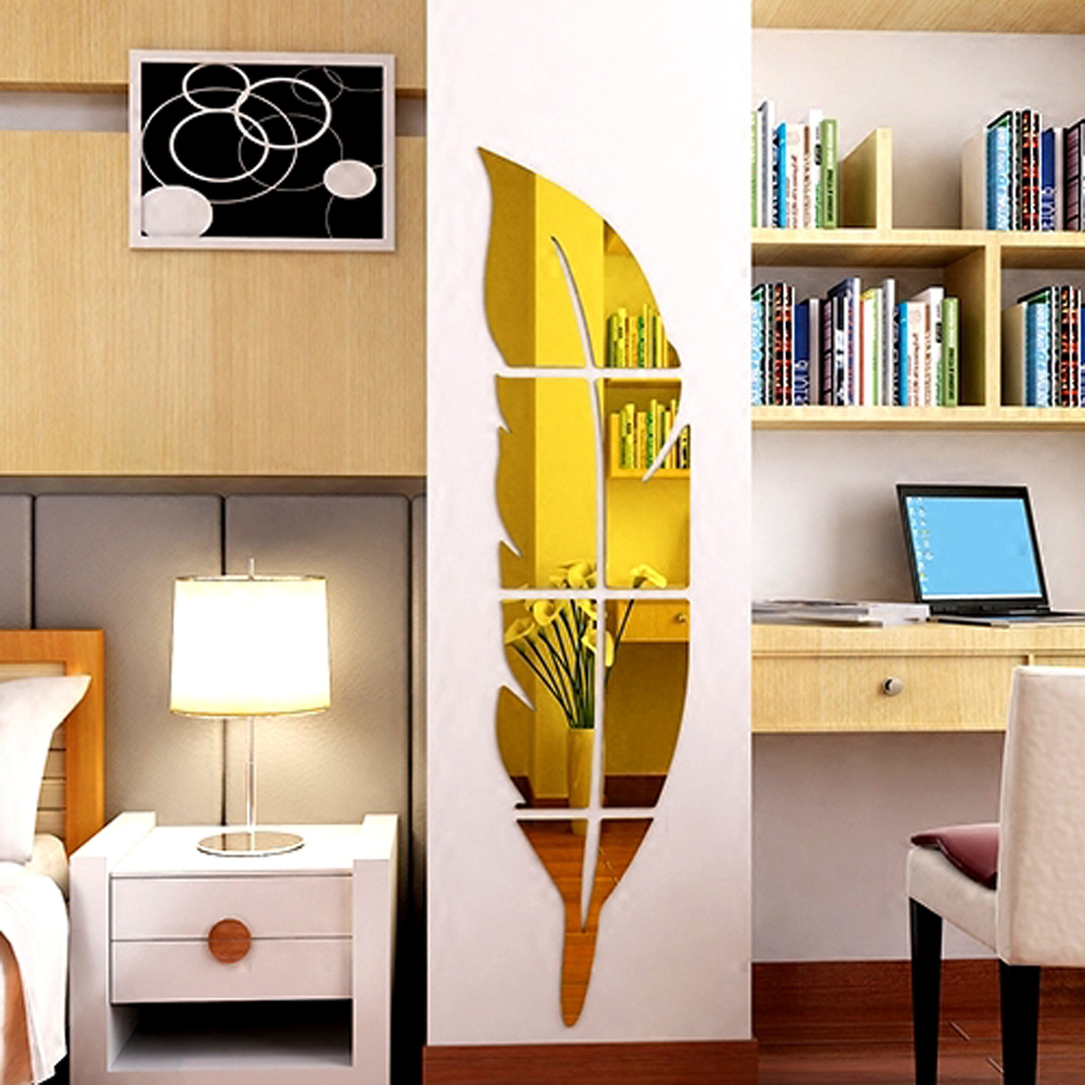 Creative 3D Stereo Feather Wall Decals Art DIY Acrylic Mirror Wall ...
