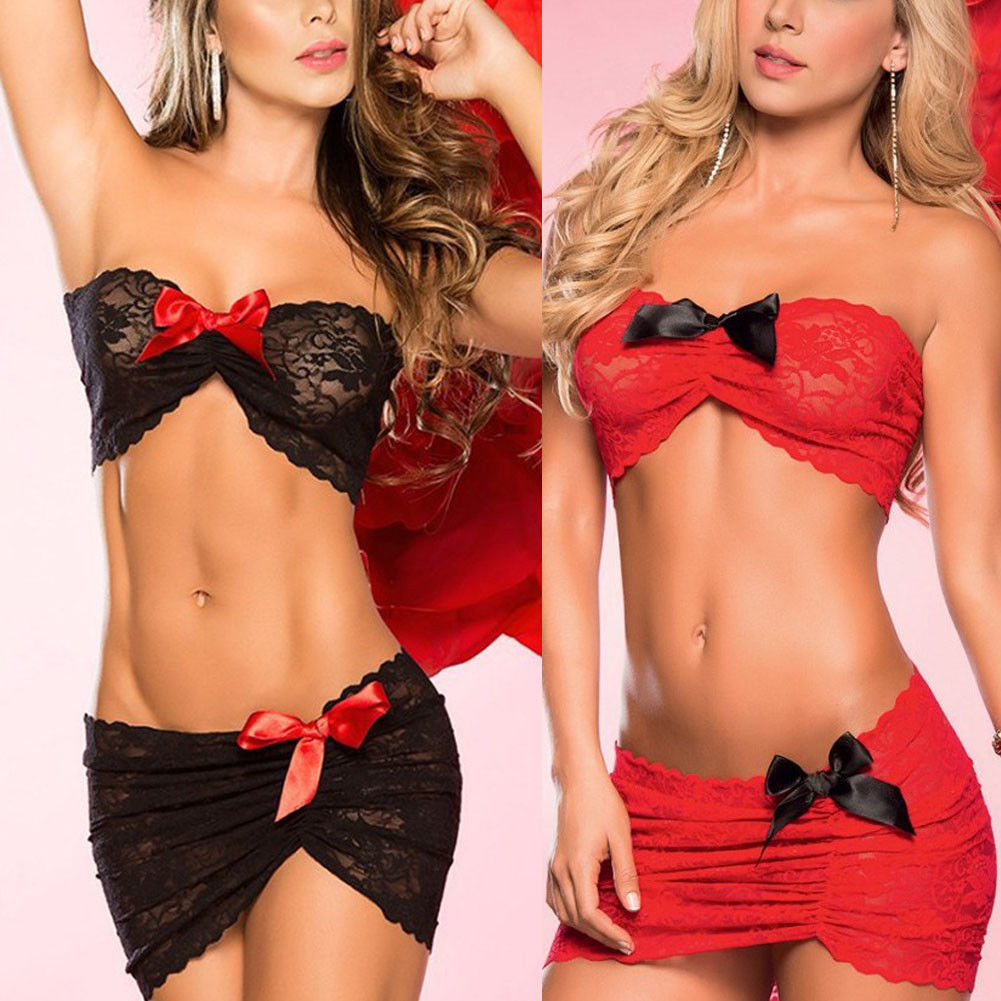 Red Black Porn Sexy Lace Lingerie Women Set Bowknot Hot Erotic Babydoll Mini Dress Nightwear Underwear Sleepwear