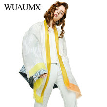 Wuaumx Fashion Hijab Scarf Women Floral Pattern Scarfs For Ladies Tassel Scarves Thin Wraps And Shaws Long Muffler sjaal apaszka fashionable floral pattern yarn scarf muffler cappa deep pink