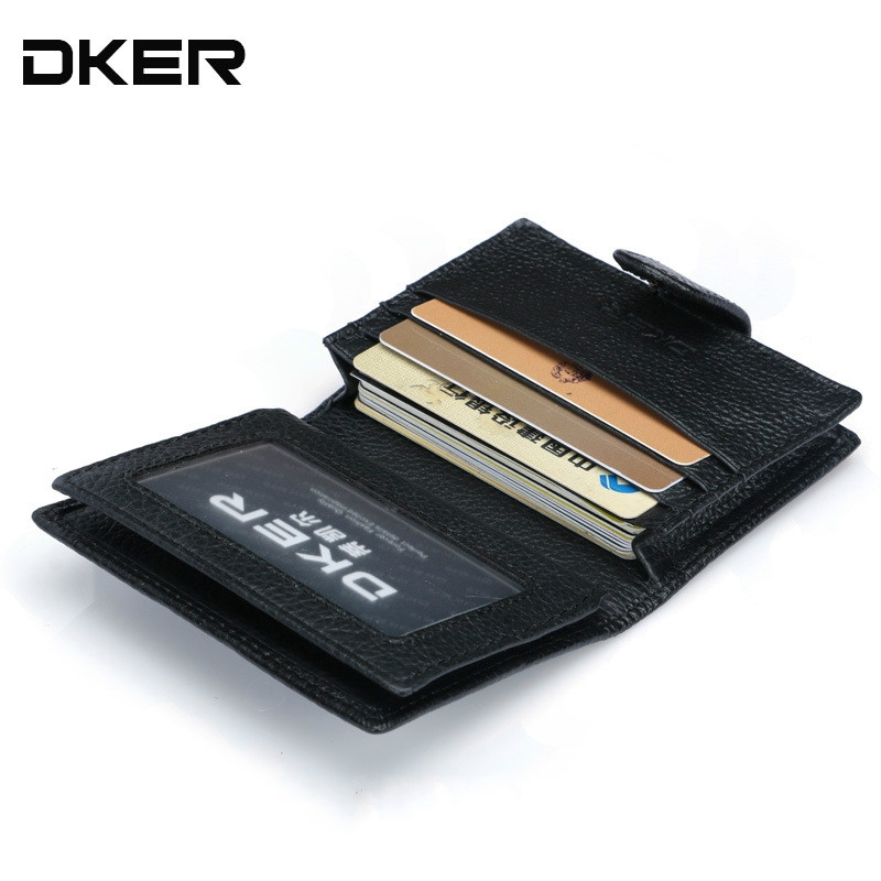 DKER Genuine Leather Men Card Holder Fashion Credit Card Holder Business Card & id holders High Quality Men Wallet Purse недорго, оригинальная цена