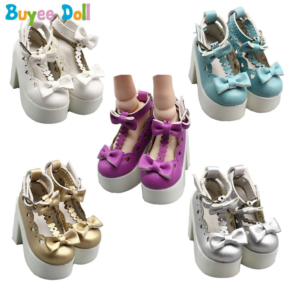 Beautiful 1/3 BJD Shoes Heart Hollow Out Block With Double Bow Heel Shoes for SD Dolls Accessories Shoes for Girls Gift