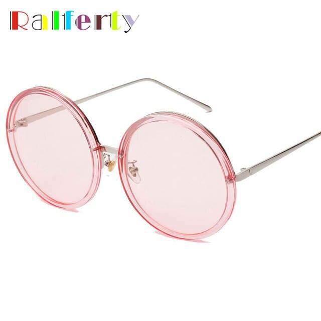 80905ae0b8a Online Shop Ralferty Oversized Sunglasses Women Candy Sun Glasses Round  Pink Transparent Glasses Female Big Face Anti UV Eyewear Oculos A927
