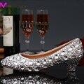 Роскошные выпускные ну вечеринку пром обувь на высоких каблуках серебряная стразами свадебный свадебные туфли алмаз туфли для свадьбы