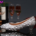 Luxury Graduation Party Prom Shoes High Heel Silver Crystals Rhinestones Bridal wedding shoes Diamond Lady Shoes for Wedding