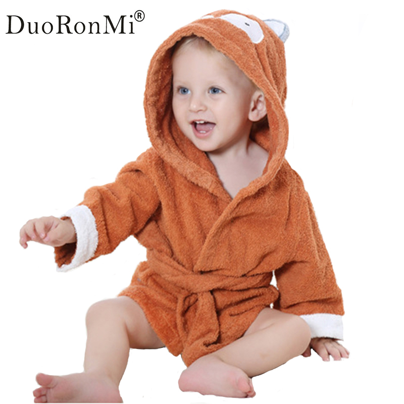 DuoRonMi Baby bathrobe cotton animal hooded cartoon baby bathrobe poncho towel kids bath robe infant towel with hood 10 colors