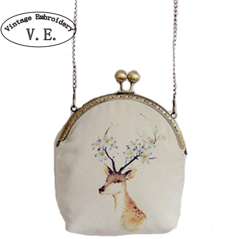 Vintage Embroidery Women Day Clutch Mori Girl Kisslock Deer Phone Wallet Key Mini Shoulder Messenger Bag Crossbody Handbag kisslock chain bag