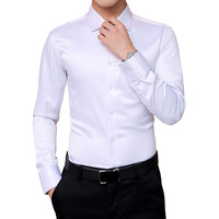 2018 Autumn New Men's Korean Shirts Wedding Party Long Sleeve Dress Shirt Silk White Tuxedo Shirt Men 5XL