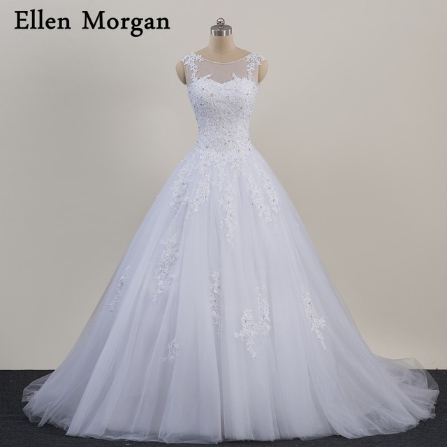 White Lace Ball Gowns Wedding Dresses 2019 Vestido De Noiva Lace up Tulle Appliques Beaded Pearls High Quality Bridal Gowns