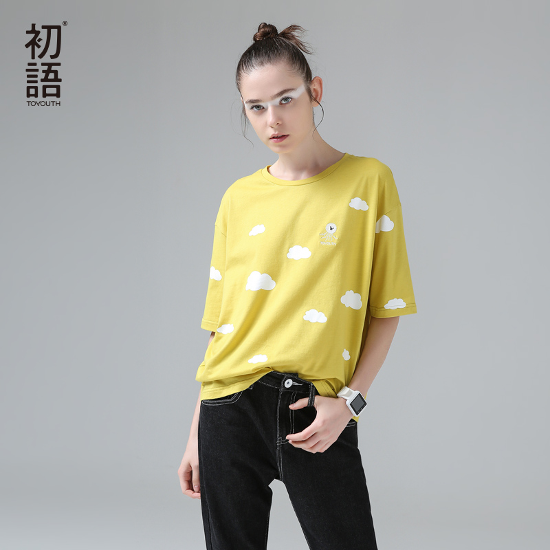 Toyouth Camisetas Mujer 2018 Women T-Shirt Casual Embroidery Octopus Short Sleeve T Shirts Printed Clouds Cotton Summer Tops