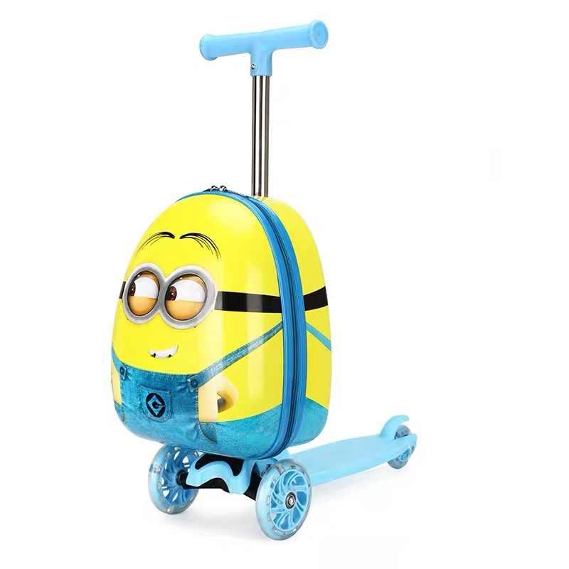 Bonito dos desenhos animados crianças scooter mala sobre rodas preguiçoso saco do trole crianças carry on cabine de viagem rolando bagagem skate saco presente