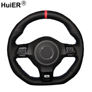 Image 1 - HuiER Hand Sewing Car Steering Wheel Cover Red Marker For Volkswagen Golf 6 GTI MK6 VW Polo GTI Scirocco R Passat CC R Line 2010