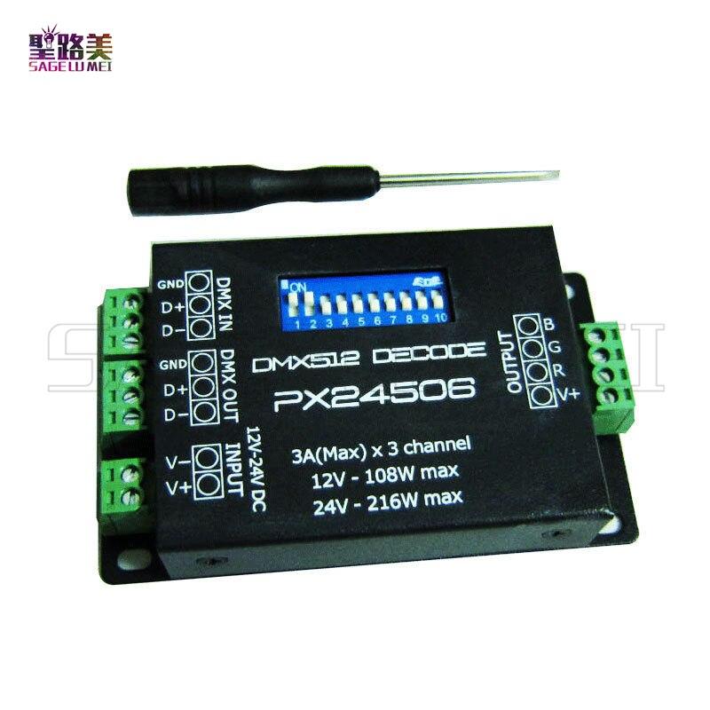 best price wholesale DC12V-24V PX24506 DMX512 3CH Decoder Driver RGB Amplifier Controller For 5050 3528 RGB LED Strip Light Lamp 216w px24506 dmx512 led decoder black 12 24v
