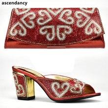 c555957b Color rojo zapatos italianos con los bolsos a juego para las mujeres  nigeriano zapatos y bolsa para las mujeres zapato y bolso a.