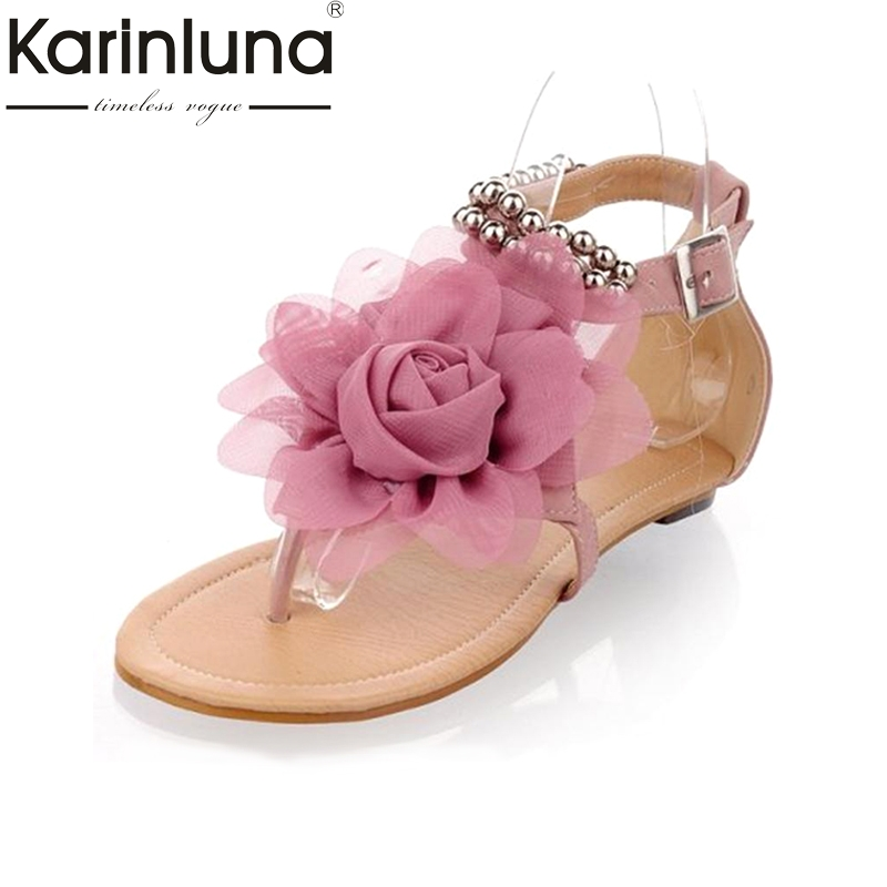 Big Size 34-43 Bohemia 2016 Sandals Female Beaded Flower FLat Flip-flop fashion Summer Women Shoes beach casual soft 2016 fashion summer women flat beaded bohemia ppen toe flat heel sweet women students beach sandals o643