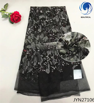BEAUTIFICAL Black african lace fabrics Fashion style nigerian net lace with sequins embroidery mesh tulle lace fabric JYN271
