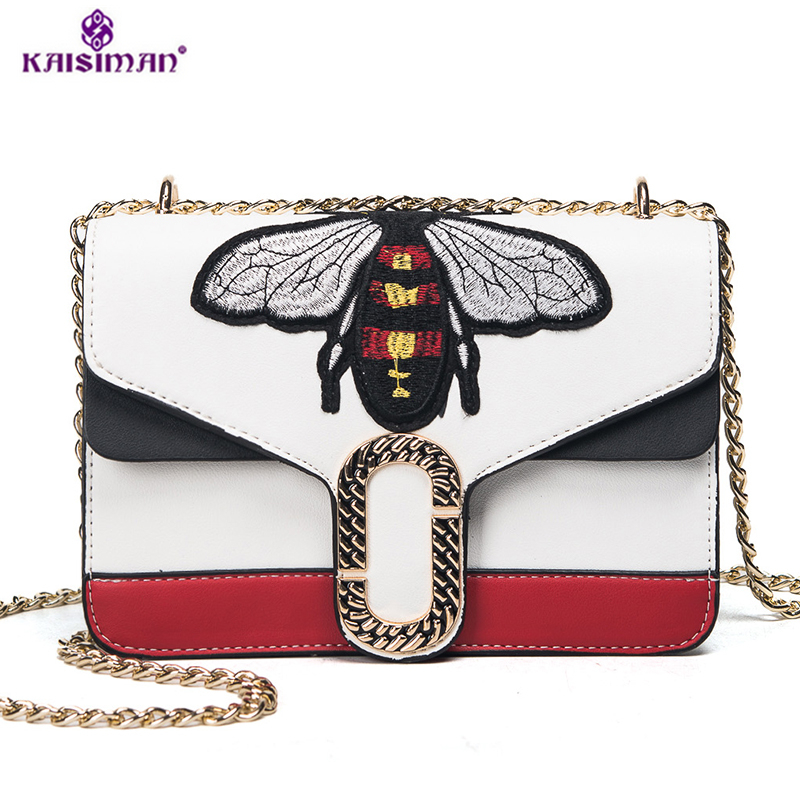New Luxury Brand Crossbody Bags for Women Famous Bee Logo Embroidery Designer Handbags High Quality Leather Women Messenger Bags клатч brand new messenger wlhb2094 16