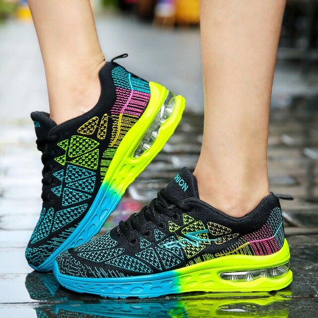 LSYSAG סניקרס גברים ריצה כרית נעלי עף אריגת רשת נעלי נשים לנשימה מאמני נעלי ספורט סניקרס גברים מאמני