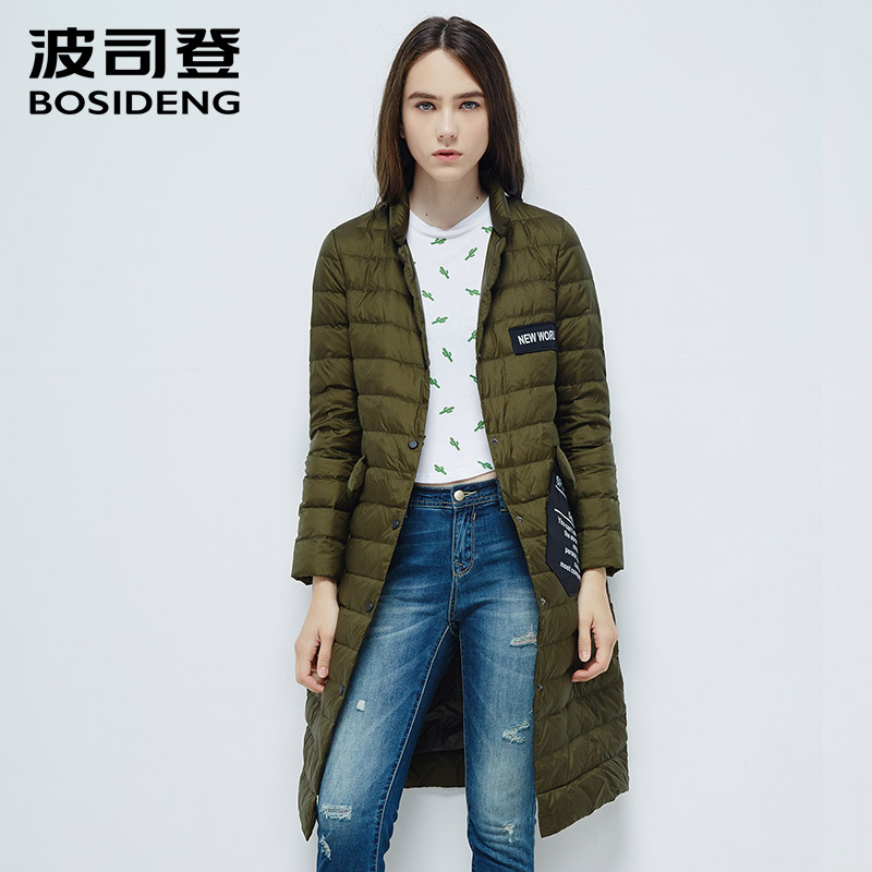 BOSIDENG new women goose   down     coat   long   down   jacket light warm high quality single breasted button notched lapel B1601046
