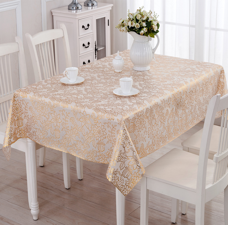 Wipe Clean Pvc Vinyl Tablecloth Dining Rectangle Silver Gold Plastic