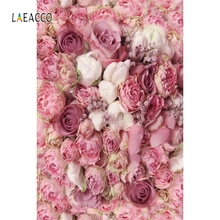 Laeacco Pink Flowers Wall Wedding Party Portrait Photography Backgrounds Customized Photographic Backdrops For Photo Studio
