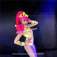 M81 рейверская Праздничная Женский сексуальное бикини платье Вечерние show носит боди Подиум выполнять Танцы костюмы этап наряды головной убо