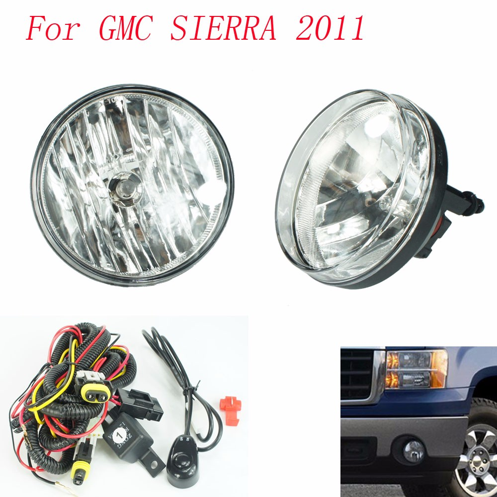 Fog light for GMC SIERRA 2011 fog lamps Clear Lens Bumper Fog Lights Driving Lamps / Daytime Running light  цены
