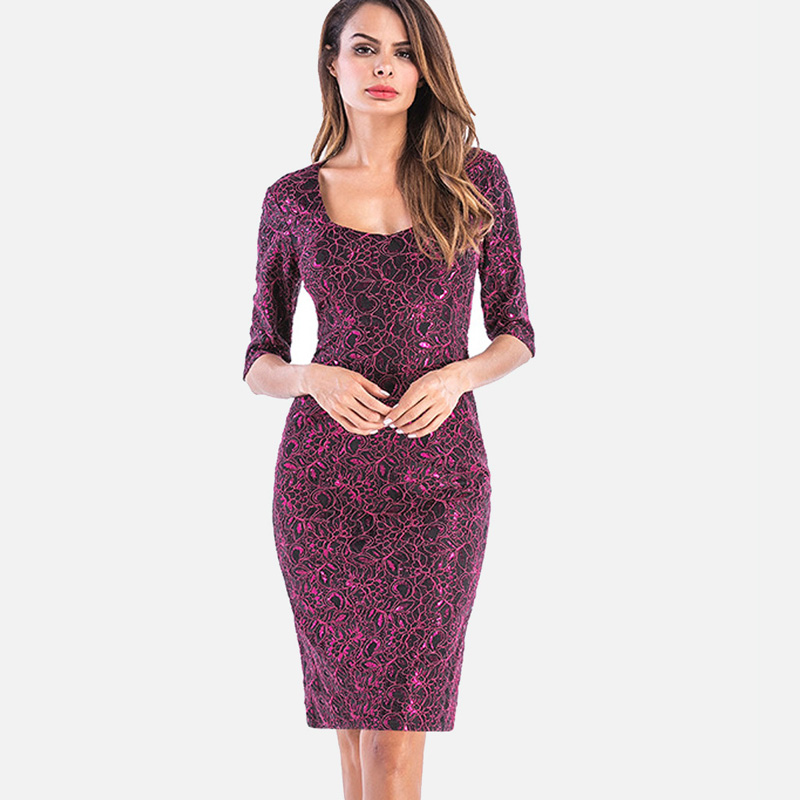 2019 QIUXUAN Plus Size S 4XL Jacquard Lace Bodycon Dress 2018 Summer  Fashion Half Sleeve Square Collar Split Back Metallic Dress From Bishops,  &Price; ...