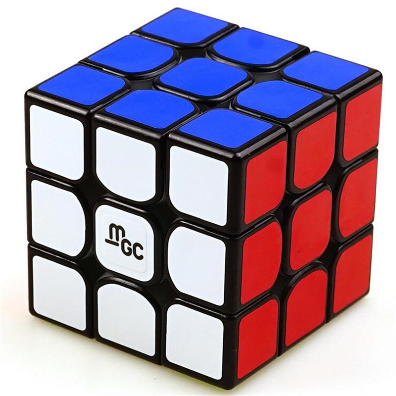 New YJ 3X3 Magnetic Version MGC Magic Cube Speed Cube for Brain Training - Black/White yj guanlong speed third order magic cube toy