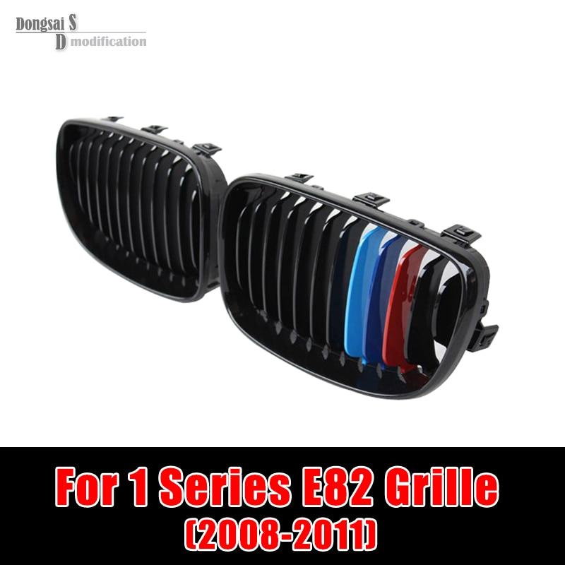 1 Series e81 e87 E82 E88 Front Grill ABS Glossy M color Grille for BMW 2008 - 2011 Coupe 118i 118d 120i 120d 123d 125i 128i 130i m sticker fit for bmw x1 x3 x5 e60 e39 e34 e28 525 m 3 5 fender side vent grill grille 3m tape 2pcs set