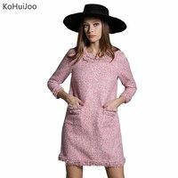 KoHuiJoo Autumn Pink Tweed Dress Women 3 4 Quarter Sleeve Tassel Beading Winter Wool Dresses 2018