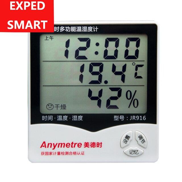 מקורה LCD דקות שעון טמפרטורת לחות מד מדחום הדיגיטלי LCD thermo מדדי לחות