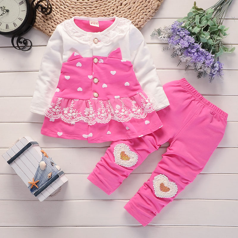 BibiCola baby girls clothing set baby girls clothes t-shirt + pants 2pcs Sport suit cotton Toddler girl newborn clothing 3pcs 2018 fashion baby girls clothes set long sleeve flower t shirt pants headband newborn infant baby girl toddler clothing set