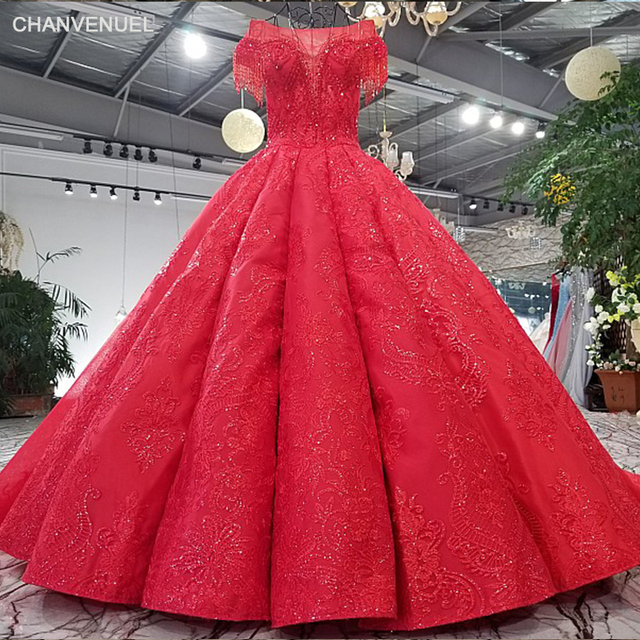 Ls65410 1 2018 New Design Red Evening Dress Cap Sleeves Tulle Back