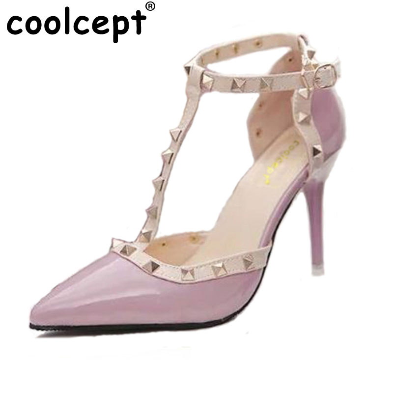 Coolcept Rivet Women Pumps Ladies Sexy Pointed Toe High Heels Fashion Buckle Studded Stiletto High Heel Sandals Shoes size 34-40 onlymaker ladies women s high heel closed toe pumps rivet studded sandals handmade for wedding party dress stiletto shoes