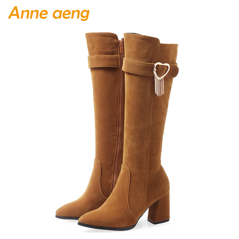 2019 new winter women knee-high boots warm plush lining high heels zip ladies sexy snow boots yellow women shoes big size 33-46 new women sexy lace up knee high boots high square heels women boots winter snow boots casual shoes woman large size 34 46