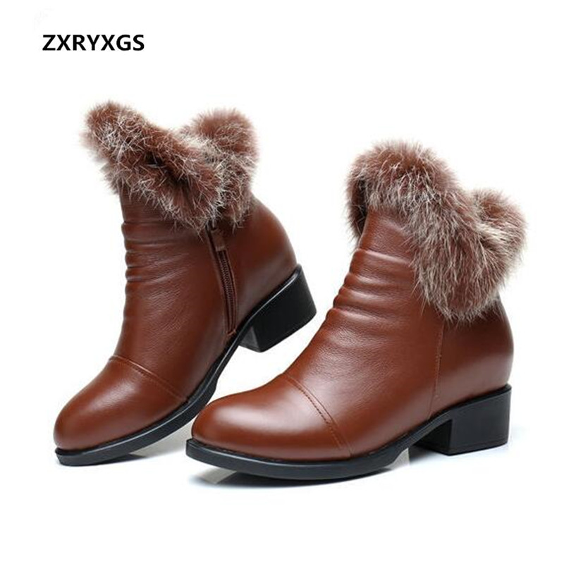 Hot Selling 2018 Winter New Genuine Leather Shoes Women Boots Fashion Warm Ankle Boots Comfortable Soft Large Size Women Shoes цены онлайн