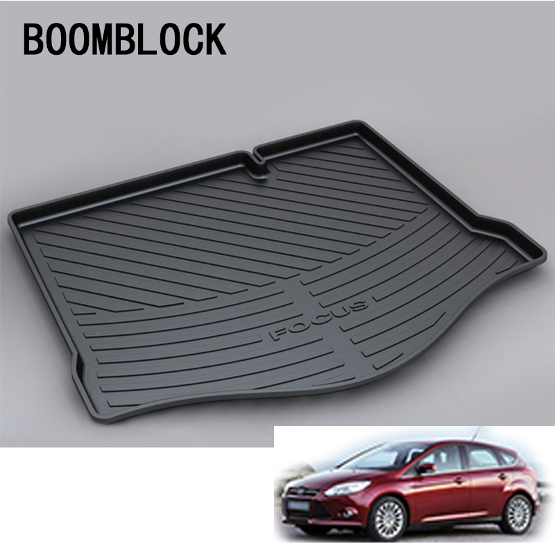 BOOMBLOCK For Ford Focus MK2 Hatchback 2005 2006 2007 2008 2009 2010 2011 Waterproof Car Trunk Mat Tray Floor Carpet Pad free shipping waterproof fiber leather car floor mats for ford focus mk 2 2nd generation 2004 2010 2009 2008 2006 2005