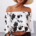 Mulheres Verão Fora Do Ombro Floral Impressão Tops Meia Manga Casuais T-shirt