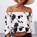Women Summer Off Shoulder Floral Printing Tops Half Sleeve Casual T-shirt