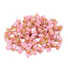50pcs Wholesale Striped Ribbon Dog Bows with Rubber Bands Satin Rose Flower Decoration Cute Hair Bowknots Accessories